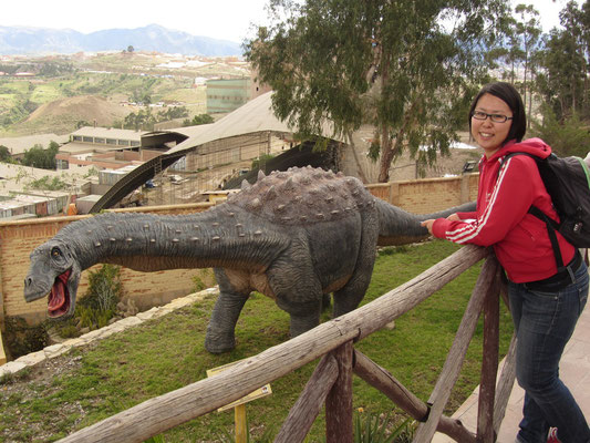 Neben den Dinospuren gibt es ein kleines Museum und einen Garten mit Dinoreplikas.