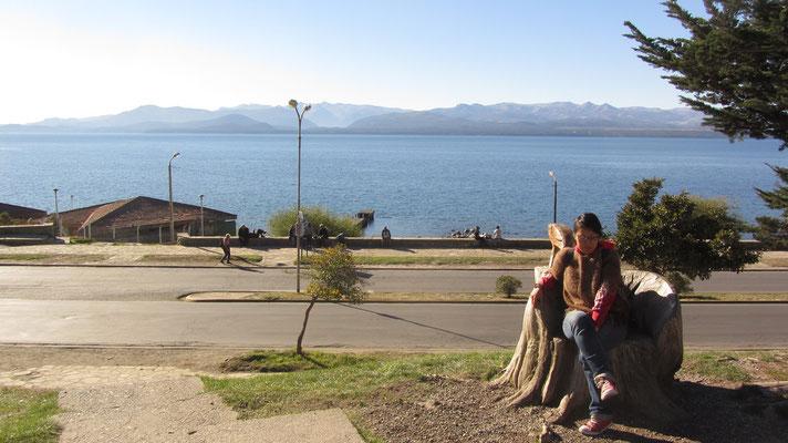"Blick auf den Lago Nahuel Huapi. In der Sprache der Mapuche bedeutet sein Name ""Insel des Jaguars""."