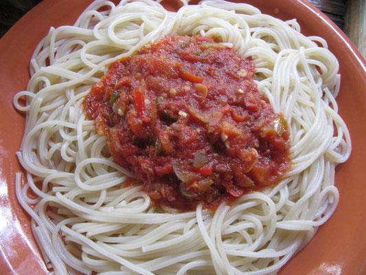 Spaghetti al arrabiata.