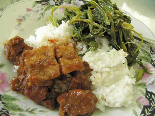 Selbstgewähltes Frühstück mit Rindfleisch, Tofu, Gemüse und Reis.
