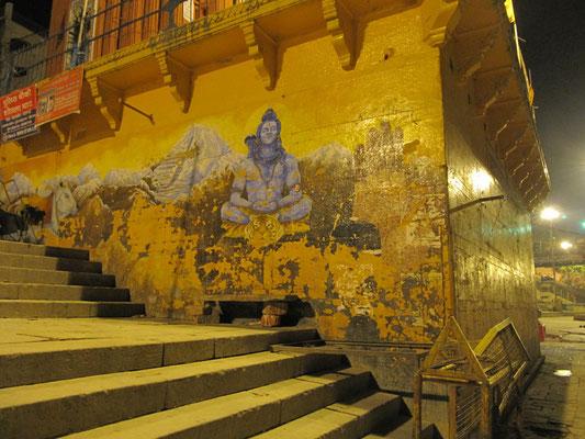 Hinduistische Wandbemalung, die - natürlich - Shiva (verkörpert das Prinzip der Zerstörung) darstellt.