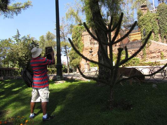 I-Pad-Fotograf. Am Rande der Altstadt liegt der Cerro Santa Lucia, eine grüne Parkoase auf dem Hügel, auf dem Santiago gegründet wurde.