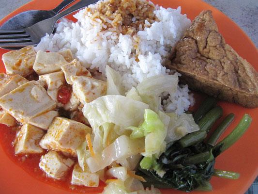 Economy Rice mit Priorität auf Tofu.