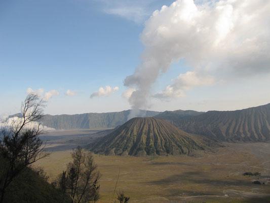 Der Gunung Kursi (Kursi-Vulkan) mit dem rauchenden Gunung Bromo im Hintergrund.