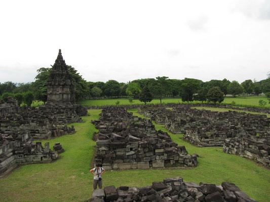 Die buddhistischen Candi-Sewu-Ruinen (erbaut ca. 850). Dieser Komplex liegt ein wenig außerhalb des zentralen Prambanan-Komplexes, ist aber zu Fuß einfach erreichbar.