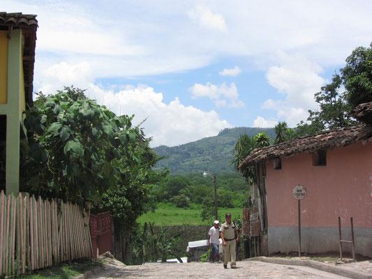 Das Umland Copans besteht aus unzähligen grasgrünen Hügelketten.