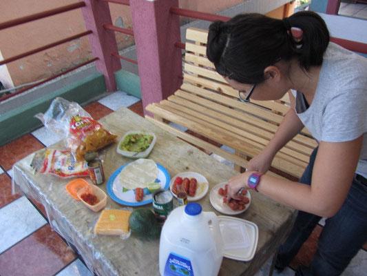 Zubereitung des Mittagessens.