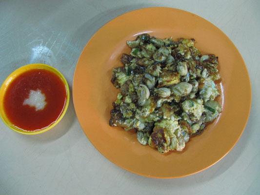 Gebratene Austern mit Ei & scharfem Knoblauch-Dip.