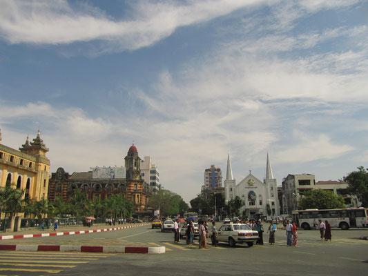 Downtown mit Blick auf die Immanuel Baptisten Kirche.