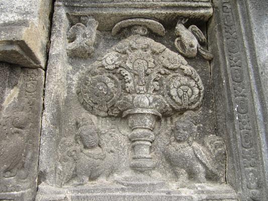 Verzierungen des äußeren Fundments. Typische Prambanan-Motive sind Mensch-Vogel-Wesen, sitzend unter dem Himmelsbaum.