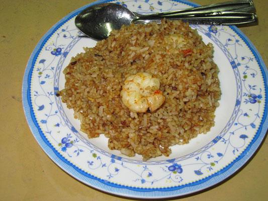Gebratener Reis mit Shrimps.