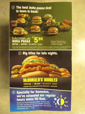 Ramadan-Angebote bei Mc Donald's.