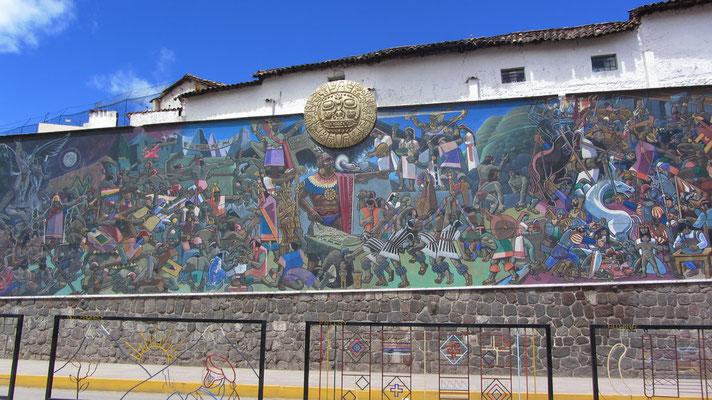 Diese wunderschöne Wandmalerei erzählt die Geschichte der Peruaner.