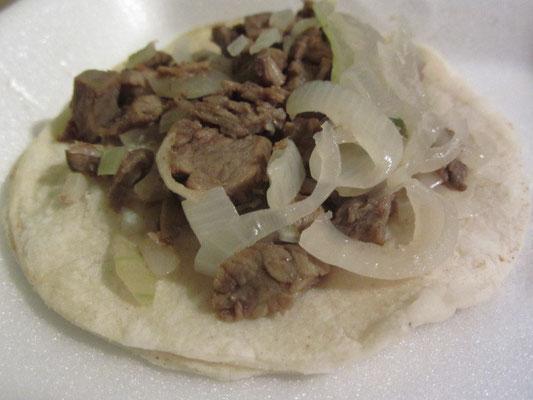 Rindfleisch-Zwiebel-Tortilla.