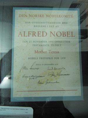 Mutter Teresas Nobelpreis.