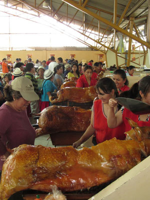 Knusprige Schweine auf dem Markt von Gualaceo.