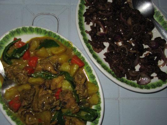 Hühnchencurry & trockenes, gebratenes Rindfleisch. Leider auch typische Gerichte des Landes.
