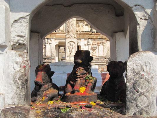 Drei Nandi-Statuen dienen hier der Shivaverehrung.