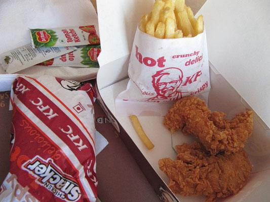 KFC. Bei Magenproblemen vertraue ich in Indien auf die weltweitgeltenden Hygienevorschriften der großen amerikanischen Fastfoodketten.