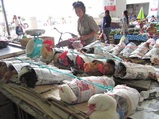 Hühner in Zeitungspapier verpackt auf dem Zentralmarkt.