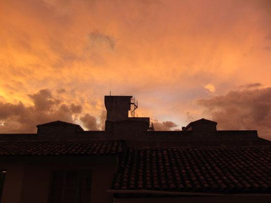 Blick aus unserem Hostelfenster.