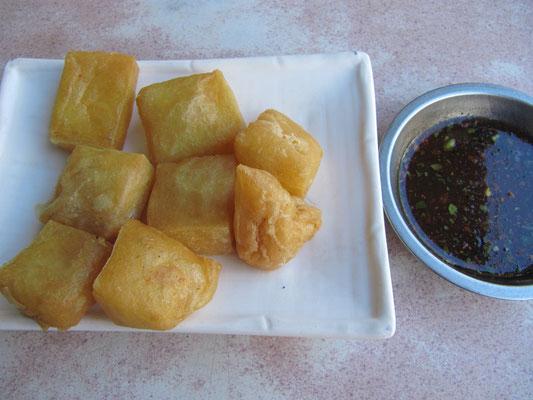 Frittierter Tofu als Vorspeise.