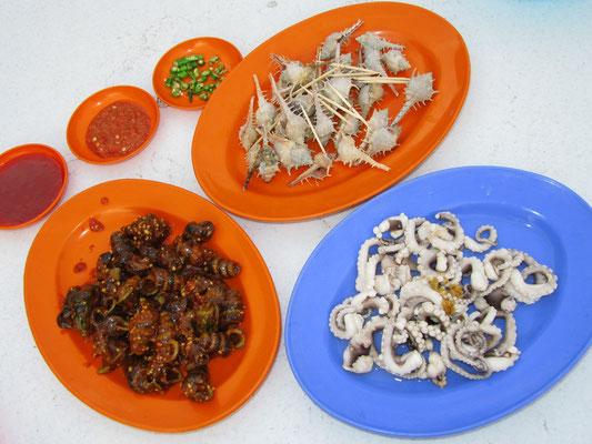 Sauer gekochter Oktopus, Spiky Clam & eine andere Muschelköstlichkeit.