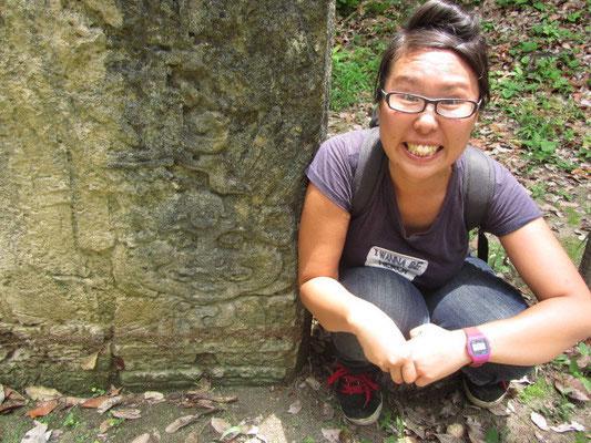 Offensichtlich sahen einige der Maya genauso aus wie Chihi. Das in Stein gemeißelte Gesicht ist der Beweis.