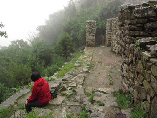 Völlig erschöpft am Intipuntu (Sonnentor) angekommen. Bei Regen marschierten wir fast eine Stunde zu den abgelegen Ruinen.