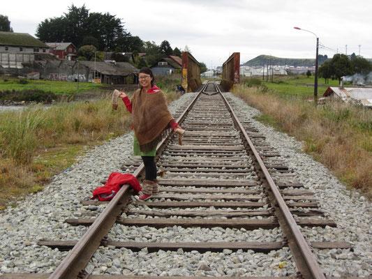Auf den Gleisen in Llanquihue.
