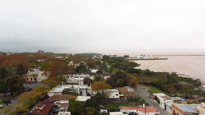 Blick Vom Leuchtturm Richtung Osten auf den Fährhafen.