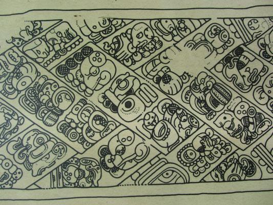 Zeichnung einiger Mayahieroglyphen.