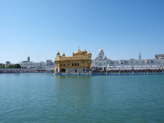 """""""Da ist das Ding"""".  Der Goldene Tempel, auch Harmandir Sahib oder Hari Mandir (Punjabi: ਹਰਿਮੰਦਰ ਸਾਹਿਬ) genannt, ist das höchste Heiligtum der Sikhs in Amritsar im indischen Bundesstaat Punjab."""