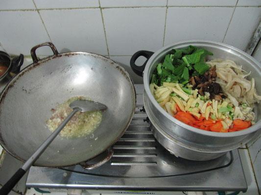 Unsere Gastgeberin kochte für uns.