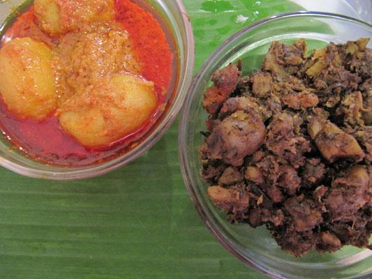 Im bengalischen Spezialitätenrestaurant. Süße Kartoffelcurries.