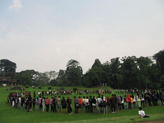 Der Garten wird gerne von Schulklassen und ,wie in diesem Falle, ganzen Uni-Fakultäten besucht.