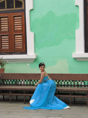 Fotoshooting vor dem Peranakan Mansion.