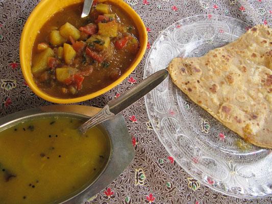 Chapati, Dal & Gemüsecurry.