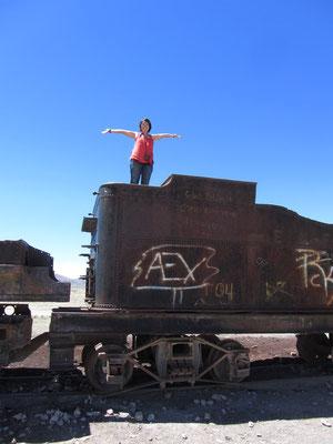 Chihi erklimmt eine Wagon.