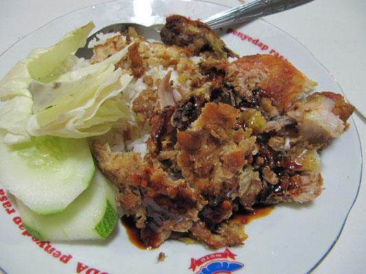 Ayam Geprek, wieder das zerstampfte Huhn. Weltklasse, erst recht wenn man weis wo zu essen ist.