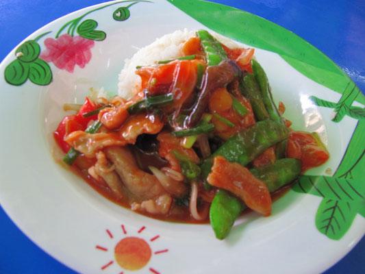 Schweinefleisch süß-sauer mit Reis.