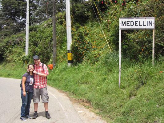 Hier fängt Medellin an bzw. hört auf.