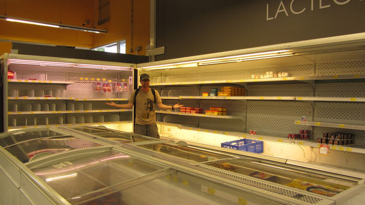 Unser Supermarkt um die Ecke. Irgendwie ein sehr übersichtliches Angebot.