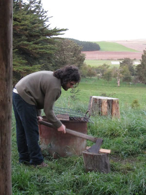 Tobi arbeitet auf seiner Farm.
