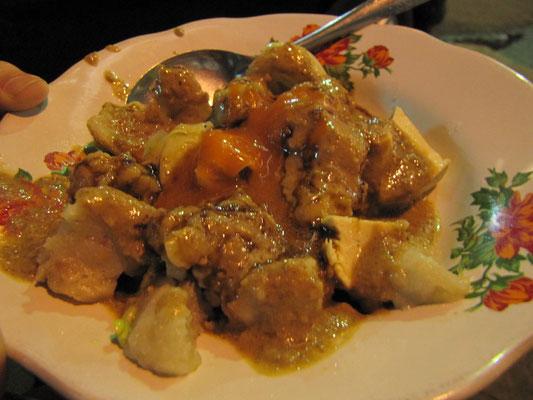 Billigsnahrung: Eine Art chinesische Platte mit gemischtem Aufschnitt (Fischfrikadellen, Tofu und Reiskuchen), dazu saftig scharfe Erdnußsoße.