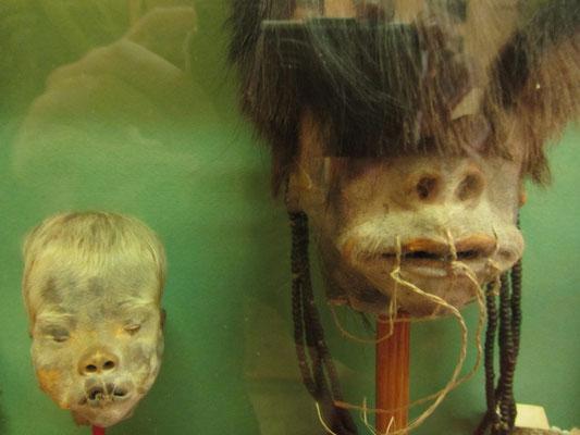 Schrumpfköpfe im Archeologischen Museum.