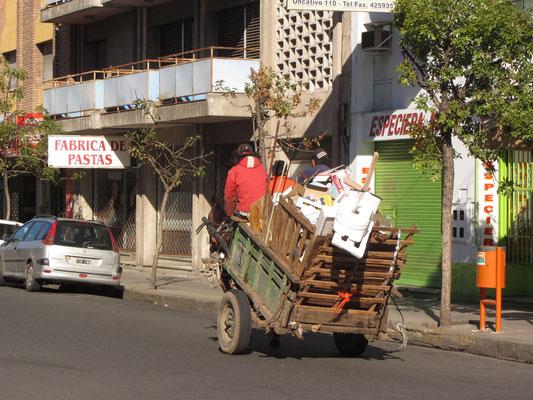 Ein Kartonero mit seinem pferdbespanntem Wagen.