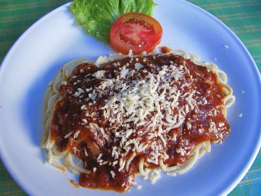 Spaghetti Napoli, aber süß wie Schokolade.