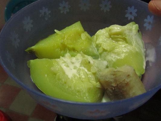 Melone und Banane.