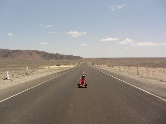 Es ist unbeschreiblich heiß in der Wüste und Schatten nicht in Sicht. Der Mirador liegt glücklicherweise direkt an der Panamerica.